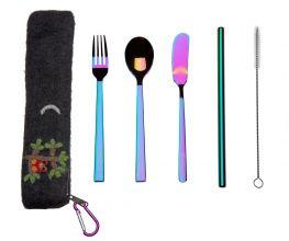 Fair Trade Felted Owl Pouch Rainbow Colored Titanium Cutlery Set