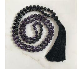 Onyx, Amethyst & Black Lava Mala Semi-Precious Stones with a Black Tassel