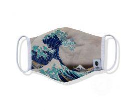 Hokusai Great Wave of Kanagawa Bamboo Face Mask, Breathable 3-Layer 100% Bamboo & Organic Cotton, Washable and Reusable