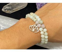 lovely jade with rose quartz accent and lotus charm bracelet set | 6mm gemstone beads