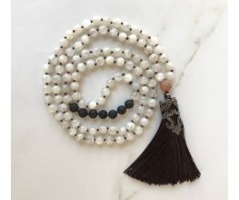 Moonstone & Black Lava Mala Hand Knotted Semi-Precious Stones with Brown Tassel