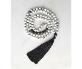 White Howlite & Black Lava Hand Knotted Mala Semi-Precious Stones with a Black Tassel